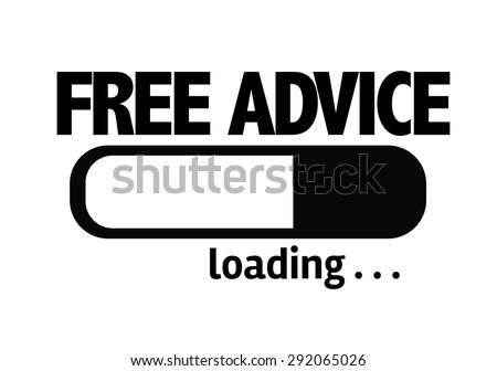 Progress Bar Loading with the text: Free Advice - stock photo