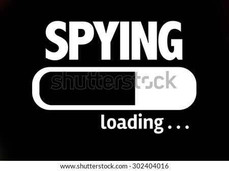 Progress Bar Loading with the text: Spying - stock photo