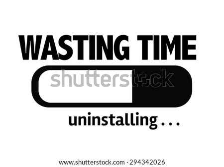 Progress Bar Uninstalling with the text: Wasting Time - stock photo