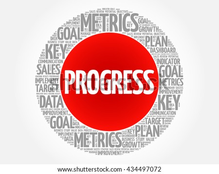 Progress circle word cloud, business concept background - stock photo