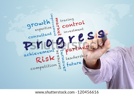 Progress concept ideas and other related words, Hand with pen write on whiteboard - stock photo