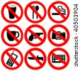 prohibited signs no drinking smoking and weapons illustration JPEG - stock vector