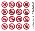 Prohibited symbols.  Bitmap copy my image ID 72579136 - stock vector