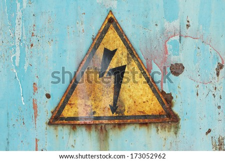 prohibitory sign high voltage background - stock photo