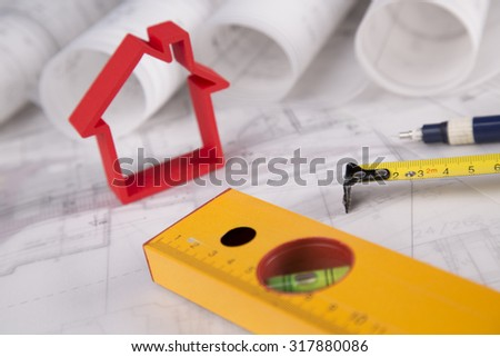 Project blueprints drawings of home model - stock photo