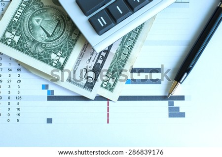 Project budget calculation, cool tone - stock photo