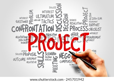 Project business & finance word cloud, business concept - stock photo