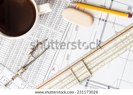 Project development, pause for a cup of coffee while working - stock photo