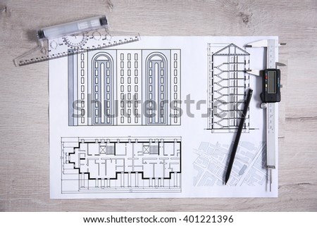 Project drawing and digital ruler, top view - stock photo
