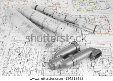 project drawings and  siphon for sewer - stock photo