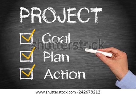 Project - Goal Plan Action - female hand with chalk and checklist - stock photo