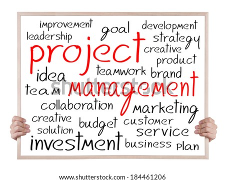 project management and other related words handwritten on whiteboard with hands