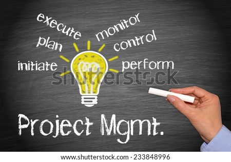 Project Management - Business concept with light bulb and text - stock photo