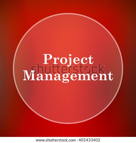 Project management icon. Internet button on red background.
