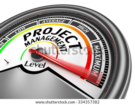project management level to maximum conceptual meter, isolated on white background