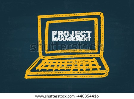 PROJECT MANAGEMENT  over computer drawing on dark blue background , business concept , business idea - stock photo