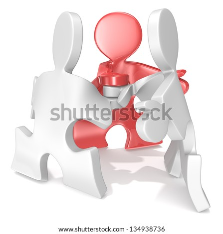 Project management. Puzzle People x3 in a team pose. One Red. - stock photo