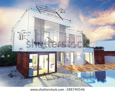 Project of a luxury villa under construction - stock photo
