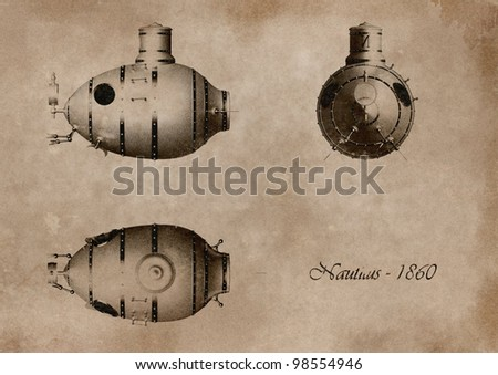 project on ancient submarine card - stock photo
