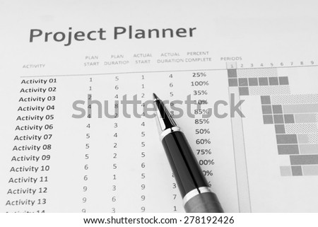 Project Planner in Black and White - stock photo