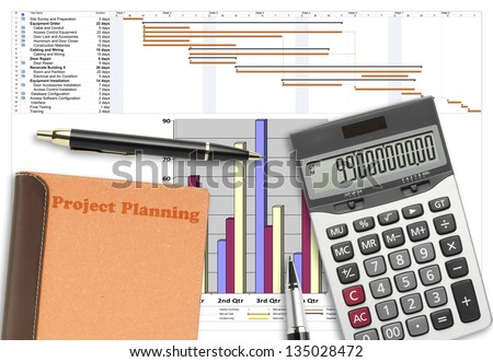 Project schedule analysis with pen, calculator & recycle notebook on white paper planing - stock photo