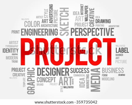 PROJECT word cloud concept - stock photo