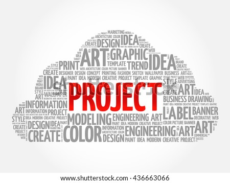 PROJECT word cloud, creative business concept background - stock photo