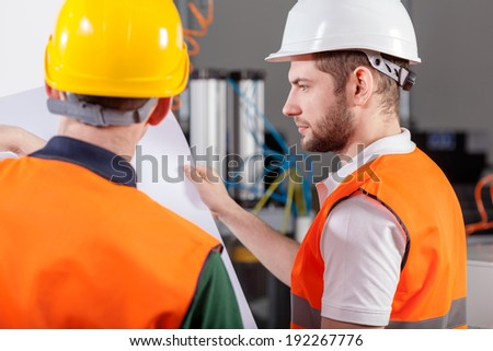 Project workers during their job with new project