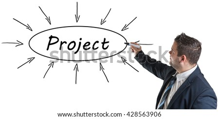 Project - young businessman drawing information concept on whiteboard.  - stock photo