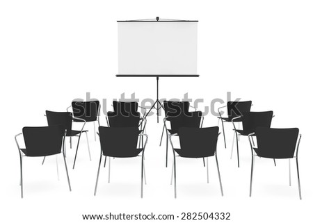 Projection Screen and Chairs on a white background - stock photo