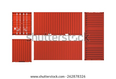 Projections of red cargo container isolated on white background, 3d illustration - stock photo