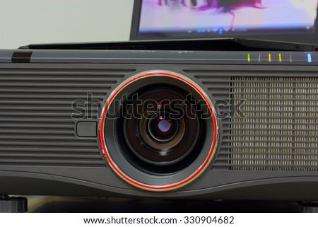 Projector lens big center close - stock photo