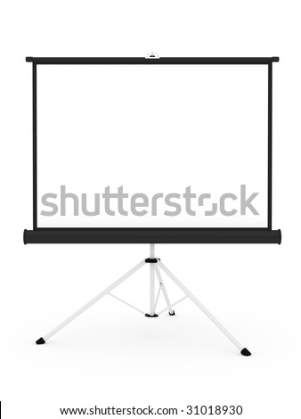Projector screen on tripod isolated on white background. High resolution 3D image - stock photo