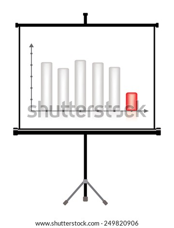 projector screen with business chart, decrease - stock photo