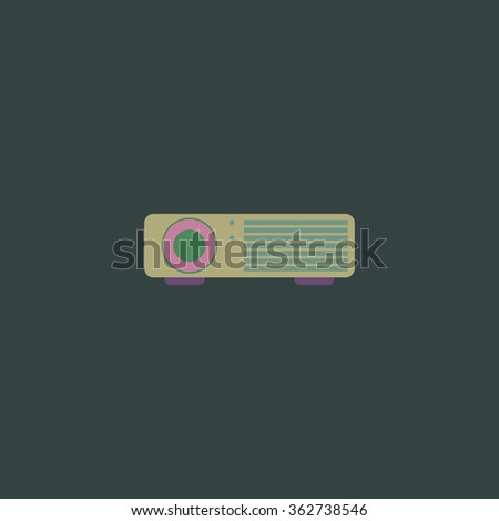 Projector. Simple flat color icon on colorful background - stock photo
