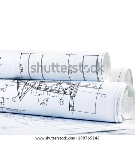 Projects of houses isolated on white background - stock photo
