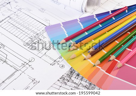 Projects of houses with a color palette - stock photo