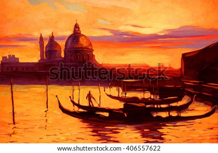 promenade and pier with gondola in Venice, oil painting on canvas,illustration - stock photo