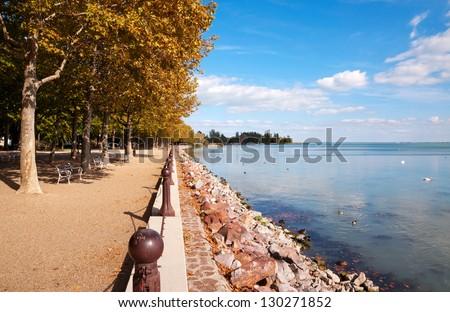 Promenade at Lake Balaton, Hungary - stock photo