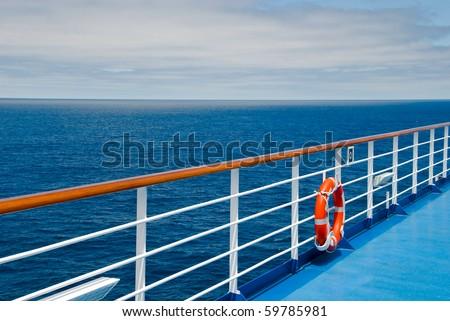 Promenade deck on a cruise ship - stock photo