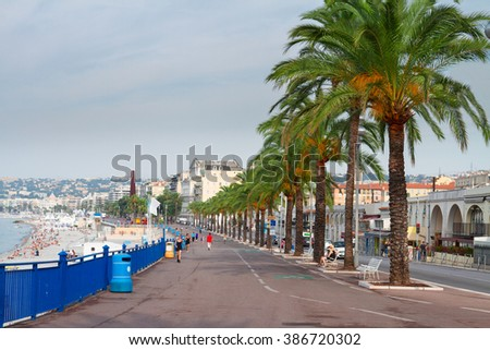 Promenade des Anglais in Nice, cote dAzur, France. - stock photo