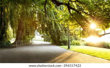 Promenade in a beautiful city park - stock photo