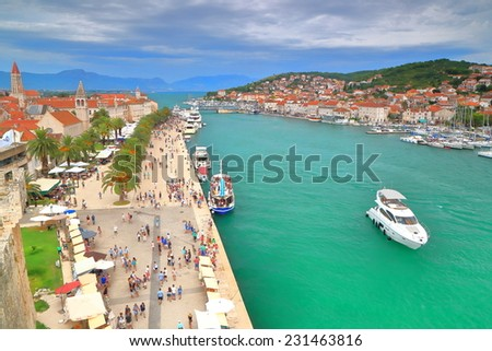 Promenade of a Venetian old town near the Adriatic sea, Trogir, Croatia - stock photo