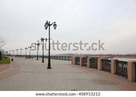 Promenade of Volga river, Astrakhan, Russia - stock photo