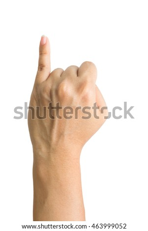 Promise hand sign; hands clenched in a fist with little finger extended.Clipping path included
