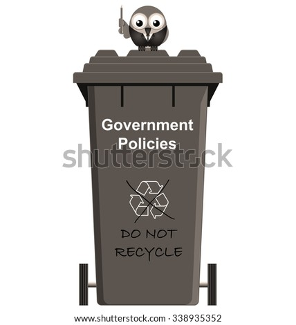 Promises Policies and Lies Government Bins isolated on white background - stock photo
