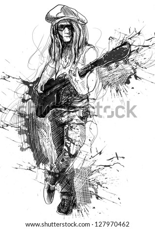 Promising guitarist - young rocker. /// A hand drawn illustration of an excellent guitar player. /// Outlines and grunge spots in shades of gray and black on white background. - stock photo