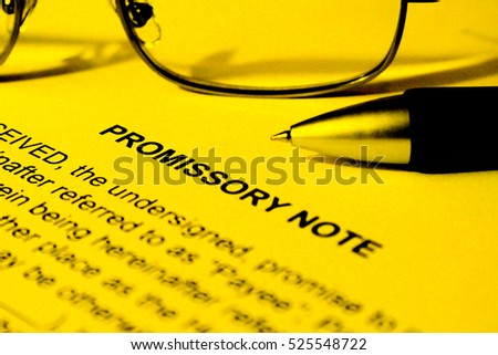 Promissory Note Yellow Background