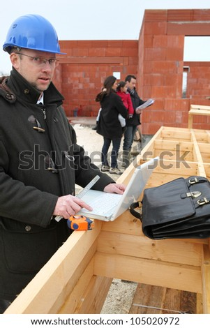Promoter on site under construction - stock photo