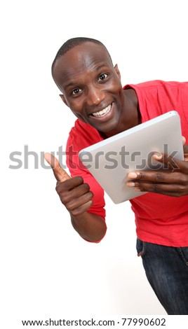 Promoting electronic tablet - stock photo